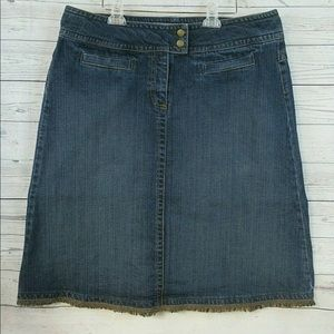 EUC 16 XL CAbi A-Line Frayed Blue Jean Skirt Midi